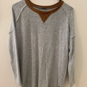 Fleece & Suede Long Tailed Sweater
